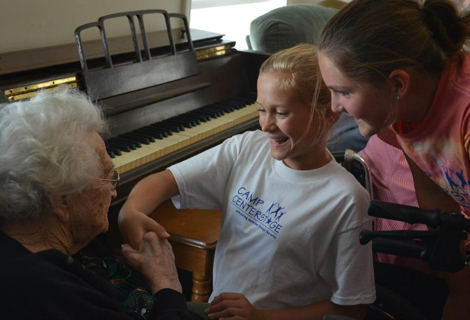 Serving the community at a senior home. (Photo courtesy of Camp CenterStage)