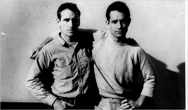 Kerouac (right) with traveling buddy Neal Cassady.
