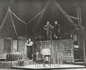Designer Jo Mielziner and director Elia Kazan used stage dynamics powerfully in the original production of Death of a Salesman.